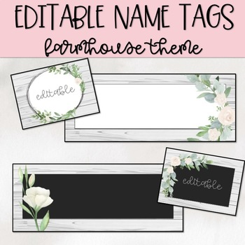 Farmhouse Theme Editable Nametags