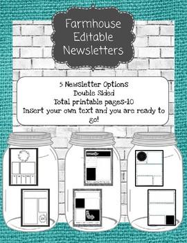 Farmhouse Theme Editable Newsletter