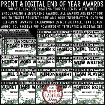 Farmhouse Theme- End of Year Awards EDITABLE Awards & Certificates