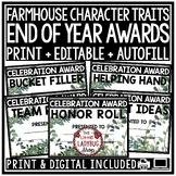 Farmhouse End of Year Editable Awards & Certificates: Editable Classroom Awards