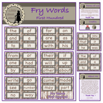 Farmhouse Theme Fry First 100 Word Cards