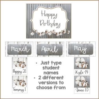 Farmhouse Theme Happy Birthday Bulletin Board Tin Shiplap Cotton