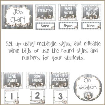 Farmhouse Theme Job Chart & Class Schedule with Tin, Shiplap & Cotton