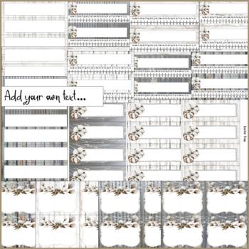 Farmhouse Theme Name Tags, Locker Tags, & Table Tags with Tin, Shiplap & Cotton