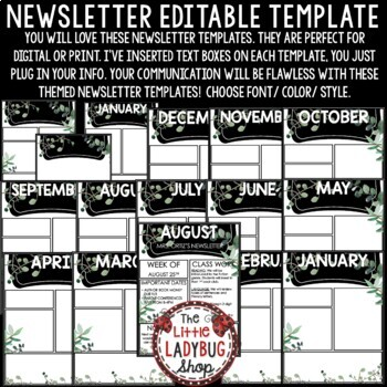 Farmhouse Theme Classroom Monthly & Weekly Newsletter Template Editable