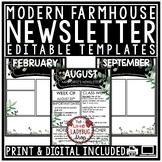 Farmhouse Theme Classroom Decor Digital Weekly Newsletter