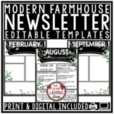 Farmhouse Theme Classroom Monthly & Weekly Newsletter Temp