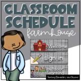 Editable Wooden Farmhouse Theme Classroom Schedule Cards