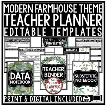 Teacher Binder Editable [Planner, Newsletter, & More] Farmhouse Classroom Decor