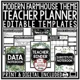 Digital Farmhouse Classroom Decor Teacher Planner Binder Editable Newsletter