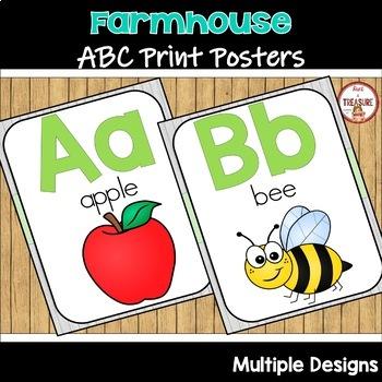 Farmhouse Theme Classroom Decor (Teal and Green) ABC Posters