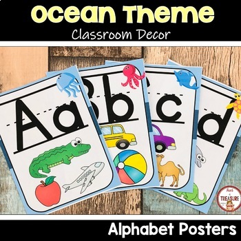 Ocean Theme Classroom Decor ABC Posters