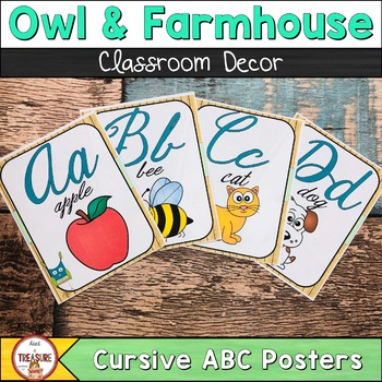 Farmhouse Theme (Teal and Green) ABC Posters Cursive
