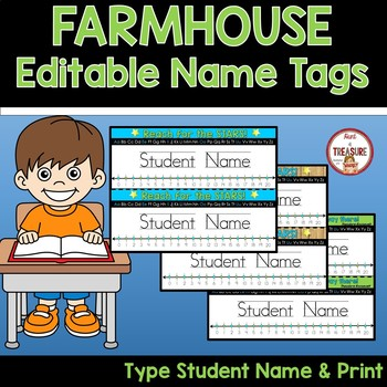 Name Tags Editable (Type Names and Print) Farmhouse Theme Classroom Decor