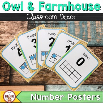 Farmhouse Theme (Teal and Green) Number Posters