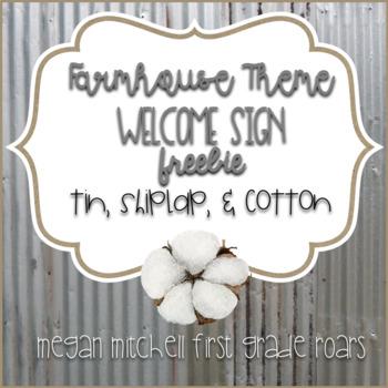 Farmhouse Theme Welcome Sign Tin, Shiplap & Cotton Freebie