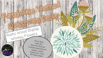Farmhouse Themed Classroom Decor Bundle (Wood Shiplap & Whimsy Flowers)