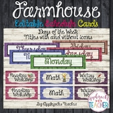 Farmhouse Themed Editable Schedule and Days of Week Tags