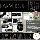 Farmhouse Themed Powerpoint Editable Slides with Timers Time Management