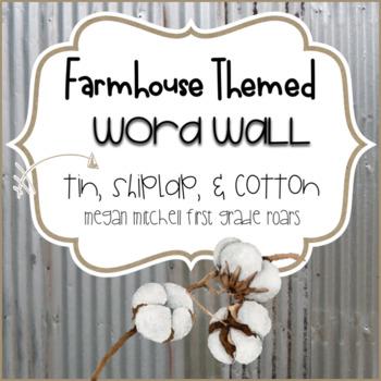Farmhouse Theme Word Wall with Tin, Shiplap & Cotton