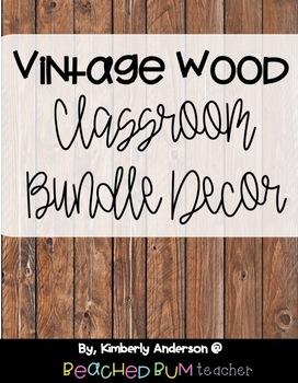 Farmhouse Vintage Brown Wood Classroom Decor Bundle