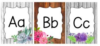 Farmhouse Watercolor Floral Alphabets