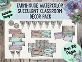 Farmhouse Watercolor Succulent Classroom Decor