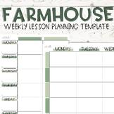Farmhouse Weekly Lesson Plan Templates (Editable)