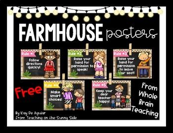 Farmhouse - Whole Brain Teaching Rules - Brown Shiplap
