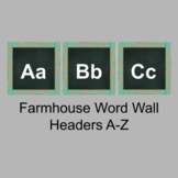 Farmhouse Word Wall Headers A-Z blue