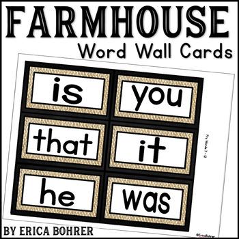 Farmhouse Word Wall Word Cards