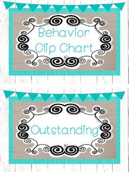 Farmhouse and Teal Behavior Clip Chart. Classroom Management.
