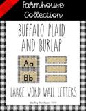 Farmhouse buffalo plaid and burlap word wall *EDITABLE*