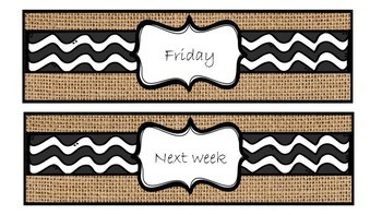 Farmhouse labels - Days of the week