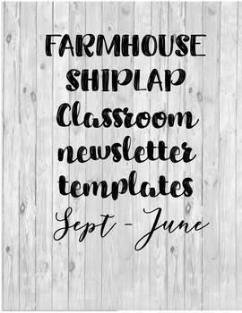 Farmhouse shiplap monthly newsletters EDITABLE