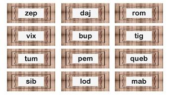 Farmhouse style nonsense word flash cards
