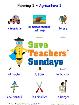 Farming 1 in French Worksheets, Games, Activities and Flash Cards