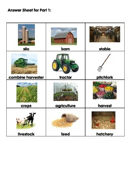 Farming Vocabulary Matching Activity - Primary/Special Education