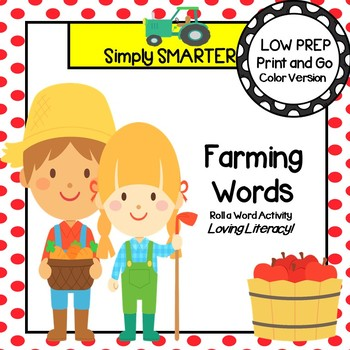 Farming Words:  LOW PREP Farm Themed Roll a Word Activity