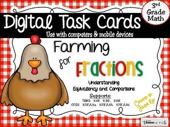 """Farming for Fractions: Digital """"Boom"""" Task Cards;  TEKS 3.3F, 3.3G, 3.3H"""