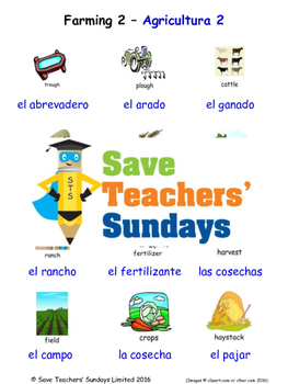 Farming in Spanish Worksheets, Games, Activities and Flash Cards (2)
