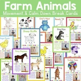 Farms Animals - Movement & Mindfulness Break Cards
