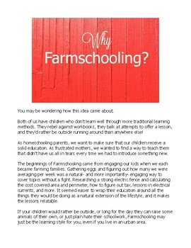 Farmschooling: Farm lesson plans for real, organic  learning!
