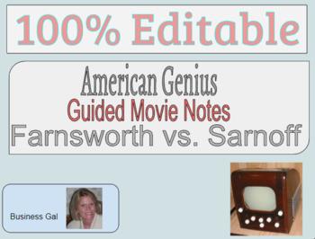 Farnsworth vs Sarnoff American Genius Guided Note, Teachers Guide, & Study Guide