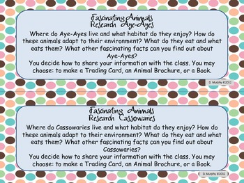 Fascinating Animals Research Task Cards
