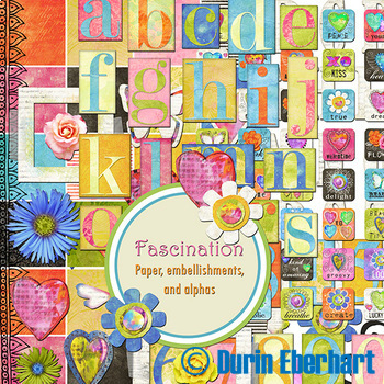 Fascination Printable Digital Paper, Embellishments and Alphas