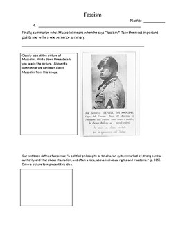 Fascism Concept Definition Worksheet