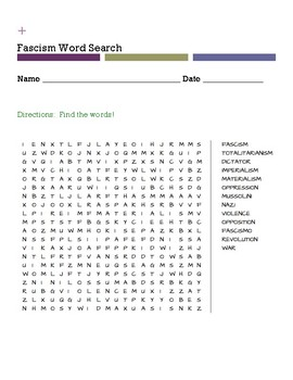 Fascism Word Search