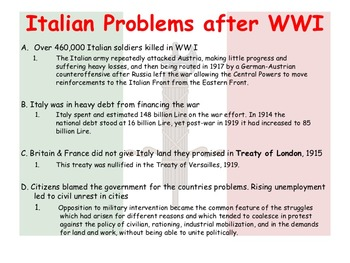 Fascism in Italy and Mussolini: Powerpoint, KWL chart, and Fact Sheet