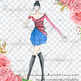 Fashion Clip Art Fashion Illustration Hand Drawn Girl in Chic City Style